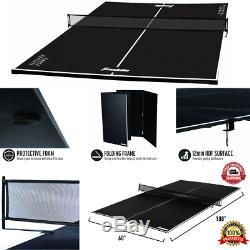Table Tennis Conversion Top Portable Ping Pong Game Sports Play Foldable Black