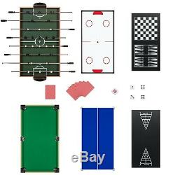 10-in-1 Gaming Tableau Complet Set Avec Piscine, Baby-foot, Ping Pong Et Plus