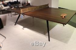 108 Ping-pong Industriel Tennis De Table Chêne Chêne Noyer Foncé Bois Cuir Cuir