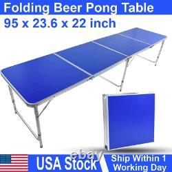 3' Bureau De Table De Pong De Bière Pliante Portable En Aluminium À L'extérieur Partie De Jeu Intérieur