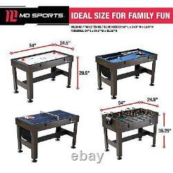 4 En 1 Combo Game Table 54 Hockey Billiard Table Tennis Foosball Kids Salle De Jeu