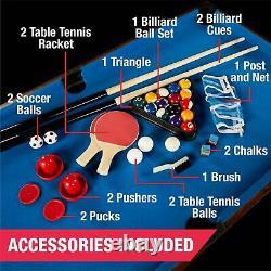 4 En 1 Combo Table De Jeu De Hockey De Babyfoot Billard De Tennis De Table Construit Dans L'entreposage