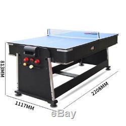 4 En 1 Table De Billard, Air Hockey, Tennis De Table Et Table À Manger