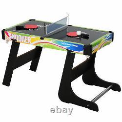4-en-1 Foldable Game Table Hockey Table Tennis & Pool Home Gaming