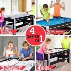 4-en-1 Swivel Combo Game Table Hockey Billiards Table Tennis Basketball 72 Nouveau