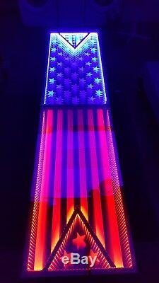 4ème De Juillet Etats-unis Amérique Infinity Led Beer Pong 8ftx2ft / W Capteurs Music
