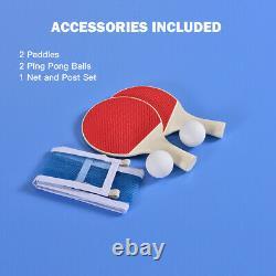 60 Portable Tennis De Table De Ping-pong Table Pliante Withaccessories Jeu Intérieur Nouveaux