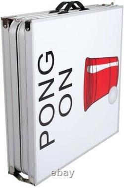 8' Beer Pong Portable Pliable Table En Aluminium Led Lights Cup Holder Keep Calm