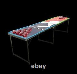 8' Beer Pong Portable Pliage Table De Jeu En Aluminium Led Lumières Porte-cup Player