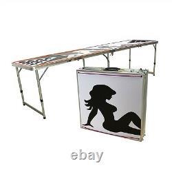 8' Bière Pong Portable Table Pliante Aluminium Led Lights Cup Holder Sexy Lady