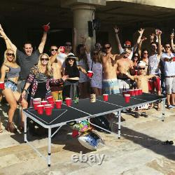 8-foot Beer Pong Table Led Lights Outdoor Picnic Beer Table Withoptional Cup Hole