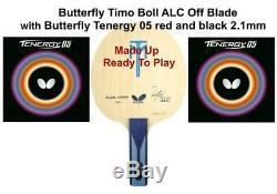 Batte De Ping-pong Butterfly Timo Boll Alc Off Lame + Papillon Tenergy 05 Caoutchouc