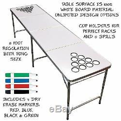 Beer Pong Set De Table Avec Des Trous Tailgate 8 Pieds Coupe Du Flip Pool Game Erase Portable