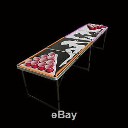 Beer Pong Table 8' Pliant Hayon Drinking Game Cup Trous # 1 Lumières Led