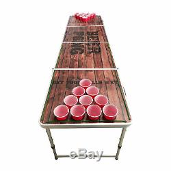 Beer Pong Table 8' Trous Pliant Hayon De Drinking Game Cup # 8 Lumières Led