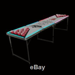Beer Pong Table 8' Trous Pliant Hayon De Drinking Game Cup # 9 Lumières Led