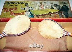 C1880s Popular Jeu De Tennis De Table Boxed Set Par Williams & Co Paris Avec Net