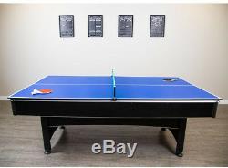 Ensemble De Jeu De Billard Et De Tennis De Table Multi De 7 Pieds Avec Pagaies Et Balles