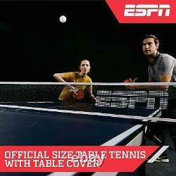Espn Taille Officielle Ping Pong Tennis Table, Intérieur, Pliable, Couverture, Bleu/blanc