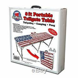 Gopong Pliable En Aluminium 8' Folding Beer Pong Drapeau Américain Table Intérieur Extérieur