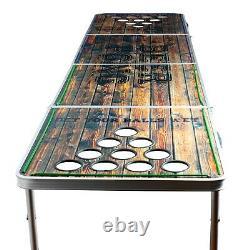 Jeu De Bière Pong Portable Table Pliable En Aluminium Led Lights Porte-cuper 8 Pieds Nouveau