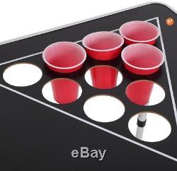 Joymor Beer Pong Table 8' Pliant En Aluminium Intérieur Extérieur Hayon Jeu Potable