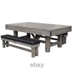 Logan 7-pi 3-en-1 Table De Billard Combo Avec Bancs Et Ping Pong