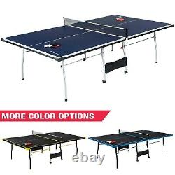 MD Sports Taille Officielle 15mm 4 Pièces Tennis De Table Intérieure, Bleu/blanc/jaune