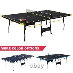MD Sports Taille Officielle 15mm 4 Pièces Tennis De Table Intérieure, Noir/jaune