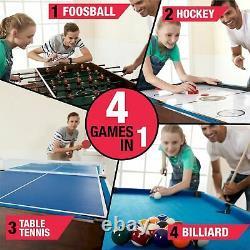 Mesa De Juegos Multiple 4 En 1 Futbolin Ping Pong Billar Hockey Con Accesorios