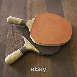 New Ping Pong Intérieure Tennis De Table Avec Pagaies Cuir Net Bois Salle Régénérés