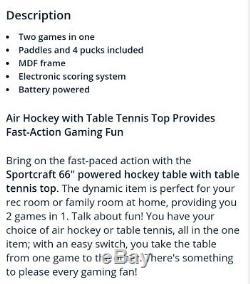 Nib Table De Hockey Alimenté L'air 66 Pouces Avec Haut De Tennis Bonus