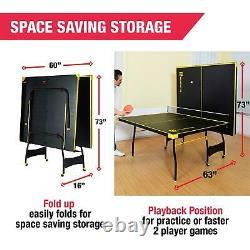 Ping Pong Tennis Table, Taille Officielle, Intérieur, Jeu 2 Paddles & Balles Inclus