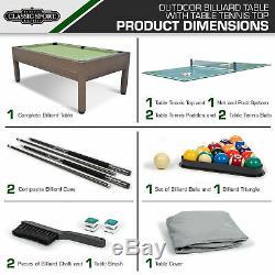 Piscine Extérieure Table + Tennis De Table De Billard + Top Comprend Accessoires De Ping-pong