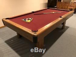 Preowned 8ft. Slate Table De Billard Avec Bonus Ping Pong Top Et Tableautins Mur