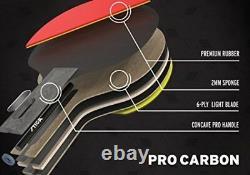 Raquette De Tennis De Table Paddle Pro Carbon Ping Pong Tournoi Jouer Sport Caoutchouc Rouge