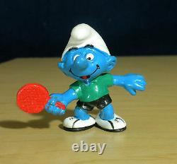 Schtroumpfs 20227 Tennis De Table Schtroumpf Ping Pong Figurine Vintage Jouet En Pvc Rare Figurine