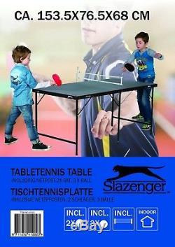 Slazenger Mini 5 Pieds Tennis De Table De Ping-pong Pliant Avec Des Battes Net Balles Intérieur