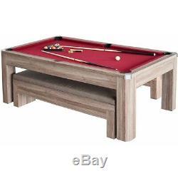 Table De Billard Ensemble De Table De Ping-pong Avec Bancs, Accessoires Et Rangements Dissimulés