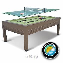 Table De Billard Extérieure Avec Table De Ping-pong En Osier 84 Pouces Nouveau