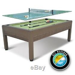 Table De Billard Extérieure + Plateau De Tennis De Table Avec Accessoires De Billard Et De Ping-pong