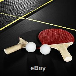 Table De Ping-pong Taille Officielle MD Sports, Avec Palette Et Balles, Noir / Jaune
