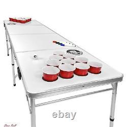 Table De Pong De Bière Extérieur 8 Pieds Avec Des Accessoires De Surface D'effacement À Sec Personnalisables