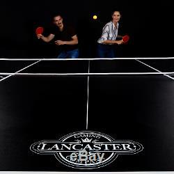 Table De Tennis De Table Pliante 2 Pièces Lancaster Avec 2 Raquettes Et 3 Balles Orange