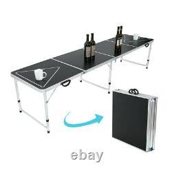 Table Pliante De 8' Beer Pong Avec Lumières Led Pour La Partie De Jeu En Plein Air