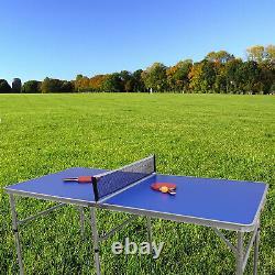 Table Tennis Ping Pong Table Pliable Avec 2 Paddles Et 3 Boules À L'extérieur Intérieur