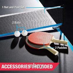 Taille Officielle Extérieur / Intérieur Tennis Ping Pong Table 2 Paddles Balles Noir / Bleu