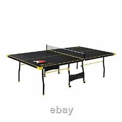 Taille Officielle Table Extérieure/intérieure 2 Paddles Et Boules Inclus Noir/jaune