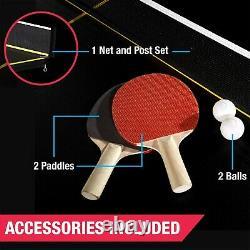 Taille Officielle Tennis Ping Pong Table Pliable Intérieure, Couleur Noir/jaune