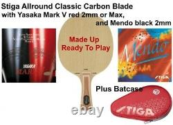Tennis De Table Bat Stiga Allround Classic Carbon Blade Avec Yasaka Mark V Red 2mm